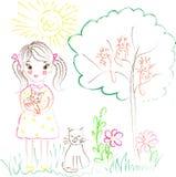 Ejemplo en el tema de la muchacha de los dibujos de los niños con los gatos foto de archivo
