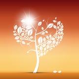 Ejemplo en forma de corazón abstracto del árbol Foto de archivo
