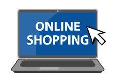 Ejemplo en línea de las compras en el fondo blanco stock de ilustración