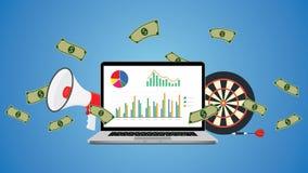 Ejemplo en línea del negocio con metas y el márketing del dinero del gráfico Foto de archivo libre de regalías
