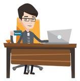 Ejemplo en línea del vector del hombre que hace compras stock de ilustración