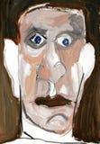 Ejemplo en la pintura de la imagen de un hombre serio Fotos de archivo