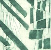 Ejemplo en la técnica clásica de la impresión por superficies en relieve, hecha con la ayuda de la cinta aislante stock de ilustración