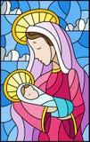 Ejemplo en tema bíblico, bebé del vitral de Jesús con Maria, figuras abstractas en el fondo con las nubes, i rectangular del ciel stock de ilustración