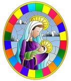 Ejemplo en tema bíblico, bebé del vitral de Jesús con Maria, figuras abstractas en el fondo con las nubes, imagen redonda del cie libre illustration