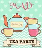 Ejemplo enojado de la fiesta del té del país de las maravillas lindo Stock de ilustración