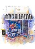 Ejemplo escénico urbano de la acuarela del café de la calle del paisaje stock de ilustración