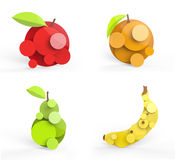 Ejemplo estilizado de cuatro frutas Fotografía de archivo libre de regalías