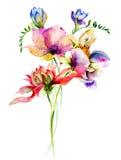 Ejemplo estilizado de la acuarela de las flores Foto de archivo libre de regalías