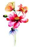 Ejemplo estilizado de la acuarela de las flores Fotografía de archivo libre de regalías