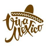 Ejemplo estilizado del vector de la frase de Viva México plano Imagenes de archivo