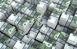 Ejemplo euro de las cuentas de dinero 3d Imagenes de archivo
