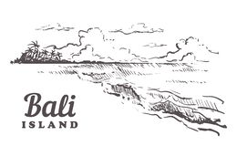 Ejemplo exhausto de Bali del bosquejo de la mano aislado en el fondo blanco stock de ilustración