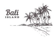 Ejemplo exhausto de Bali del bosquejo de la mano aislado en el fondo blanco ilustración del vector