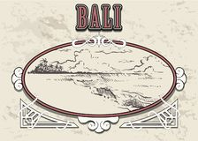 Ejemplo exhausto de Bali del bosquejo de la mano en marco retro del vintage Aislado en el fondo blanco stock de ilustración