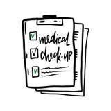 Ejemplo exhausto de la mano del chequeo médico Aislado ilustración del vector