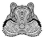 Ejemplo exhausto de la mano del vector de la ardilla listada para el libro de colorear Diseño retro étnico en estilo del zentangl libre illustration