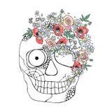 Ejemplo exhausto de la mano del vector del cráneo sonriente con las flores de la acuarela, web de araña, diente, cara del horror  ilustración del vector