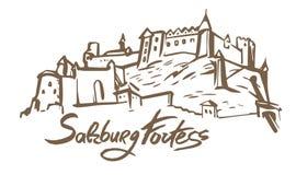 Ejemplo exhausto de la mano del vector de la fortaleza de Salzburg en el fondo blanco stock de ilustración