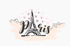 Ejemplo exhausto de la mano del vector de la silueta constructiva famosa de París en el fondo blanco libre illustration