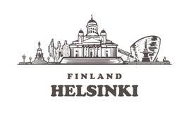 Ejemplo exhausto de la mano de Helsinki Aislado en el fondo blanco ilustración del vector