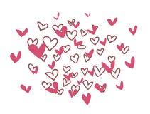 Ejemplo exhausto de los corazones de la mano del vector en el fondo blanco ilustración del vector