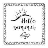 Ejemplo exhausto del bosquejo de la mano en el fondo blanco, elementos del diseño Tiempo de verano de las letras libre illustration