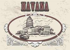 Ejemplo exhausto del vector del bosquejo de la mano de La Habana Capitolio de La Habana stock de ilustración