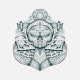 Ejemplo exhausto del vector de la mano del ancla del cráneo ilustración del vector
