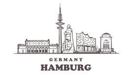 Ejemplo exhausto del vector de la mano de Hamburgo Aislado en el fondo blanco ilustración del vector