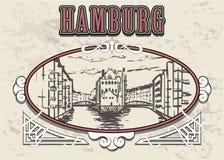 Ejemplo exhausto del vector del vintage de la mano de Hamburgo Aislado en el fondo blanco ilustración del vector