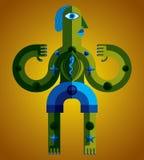 Ejemplo extraño del vector de la criatura, gráfico del cubismo stock de ilustración