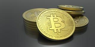 Ejemplo extremadamente detallado y realista de la alta resolución 3D Bitcoin Imagenes de archivo