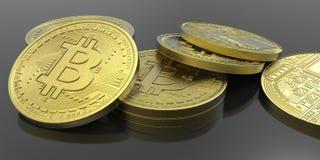 Ejemplo extremadamente detallado y realista de la alta resolución 3D Bitcoin Fotos de archivo libres de regalías