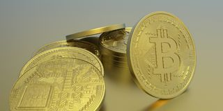 Ejemplo extremadamente detallado y realista de la alta resolución 3D Bitcoin Fotos de archivo