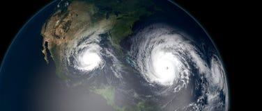 Ejemplo extremadamente detallado y realista de la alta resolución 3d de 3 huracanes que se acercan a las islas caribeñas y a la F libre illustration
