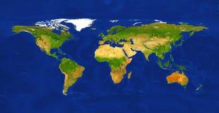 Ejemplo f?sico del mapa del mundo del tama?o grande Mapa del mundo, aislado en el fondo blanco Fuente primaria, elementos de esta ilustración del vector