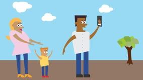 Ejemplo - familia que toma el selfie en un parque ilustración del vector