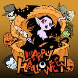 Ejemplo fantasmagórico y divertido de la historieta con una muchacha bastante malvada del vampiro Ella oculta en una calabaza eno libre illustration