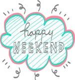 Ejemplo feliz de la burbuja de la palabra del fin de semana en el fondo blanco Foto de archivo
