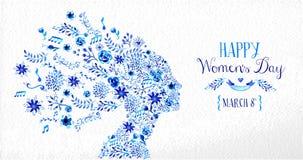Ejemplo feliz de la flor del vintage del día de las mujeres stock de ilustración