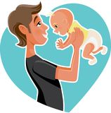 Ejemplo feliz de la historieta de Holding His Baby del padre libre illustration
