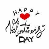 Ejemplo feliz de las letras de la palabra del día del ` s de la tarjeta del día de San Valentín Imagen de archivo