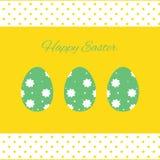 Ejemplo feliz de las tarjetas de pascua con los huevos de Pascua Imágenes de archivo libres de regalías