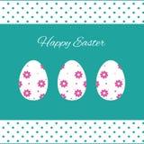 Ejemplo feliz de las tarjetas de pascua con los huevos de Pascua Foto de archivo libre de regalías