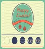 Ejemplo feliz de las tarjetas de pascua con los huevos de Pascua Imagen de archivo