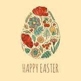 Ejemplo feliz de las tarjetas de pascua con pascua floral decorativa eg. stock de ilustración