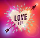 Ejemplo feliz del amor del corazón del día de tarjetas del día de San Valentín stock de ilustración