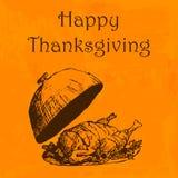 Ejemplo feliz del día de la acción de gracias Garabatee el pavo dibujado mano, fondo anaranjado de la acuarela Tarjeta de felicit Imágenes de archivo libres de regalías