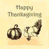Ejemplo feliz del día de la acción de gracias Garabatee el pavo y la calabaza dibujados mano, fondo de la acuarela Fotografía de archivo libre de regalías